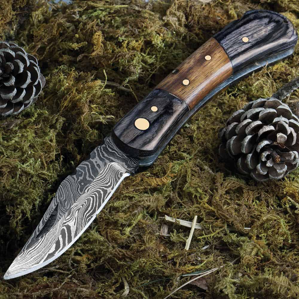 damascus folding hunting knife
